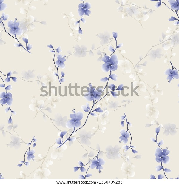 Seamless pattern small wild branch with blue flowers on a light beige background. Watercolor