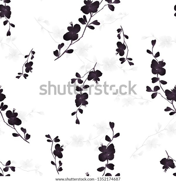 Seamless pattern small wild branch with black and gray flowers on a white background. Watercolor