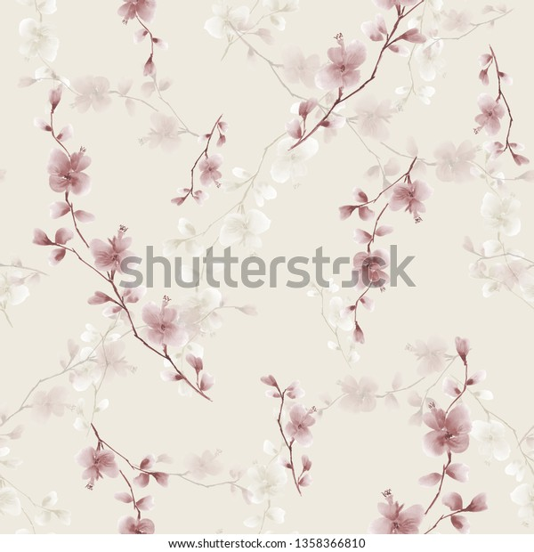 Seamless pattern small wild branch with beige flowers on a light beige background. Watercolor