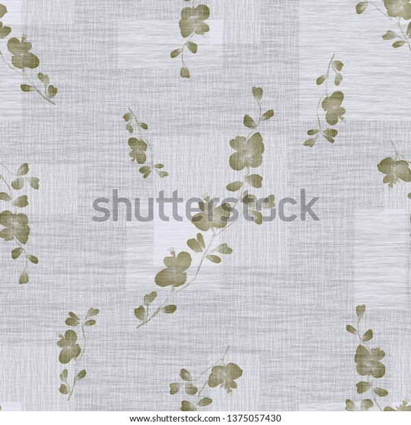 Seamless pattern small wild branch with beige flowers on a light gray background with squares. Watercolor