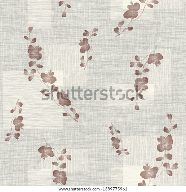Seamless pattern small wild branch with beige flowers on a light beige background with squares. Watercolor -1
