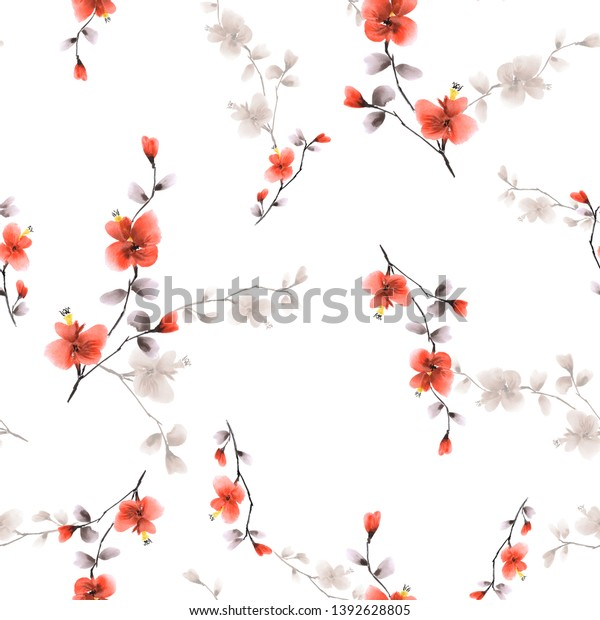 Seamless pattern small wild branch with red and beige flowers on a white background. Watercolor