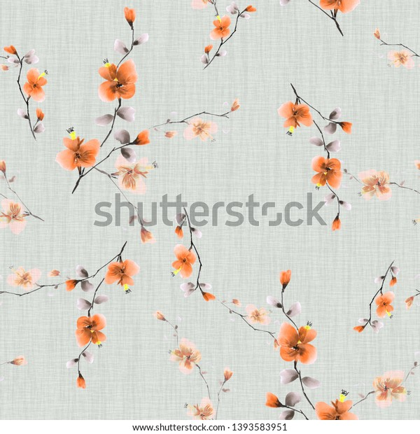 Seamless pattern small wild branch with orange flowers on a light green background. Watercolor -1