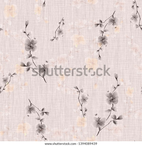 Seamless pattern small wild branch with gray flowers on a light pink background. Watercolor -2