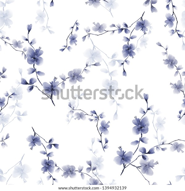 Seamless pattern small wild branch with blue flowers on a white background. Watercolor - 2