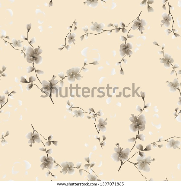 Seamless pattern small wild branch with beige flowers on a light beige background. Watercolor - 2