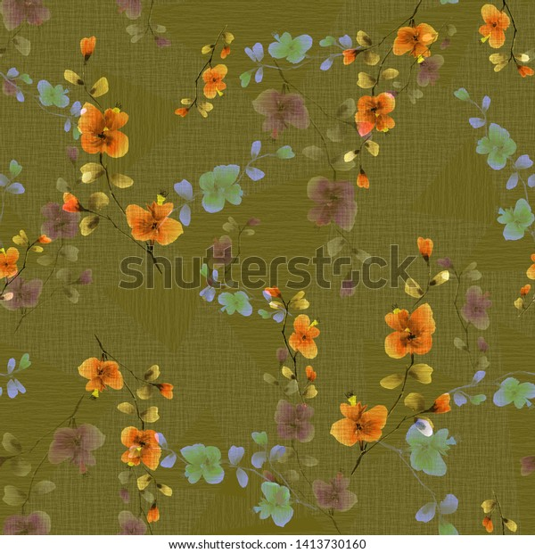Seamless pattern small wild branch with yellow and beige flowers on a dark green background. Watercolor -2