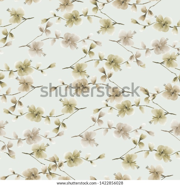 Seamless pattern small wild branch with beige flowers on a light green background. Watercolor - 2