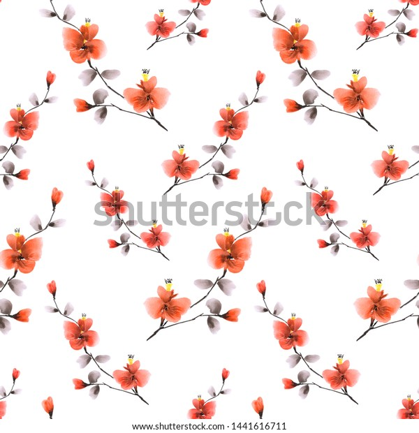 Seamless pattern small wild branch with red flowers on a white background. Watercolor