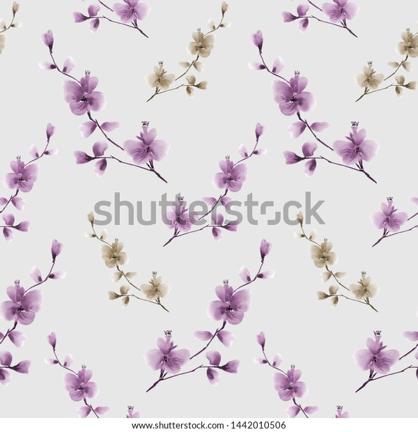 Seamless pattern small wild branch with violet and green flowers on a light gray background. Watercolor