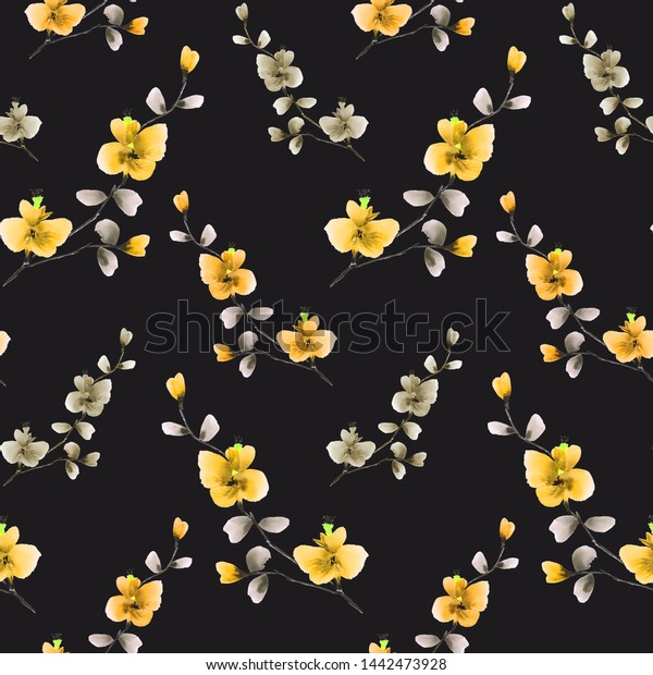 Seamless pattern small wild branch with yellow and beige flowers on the black background. Watercolor -3