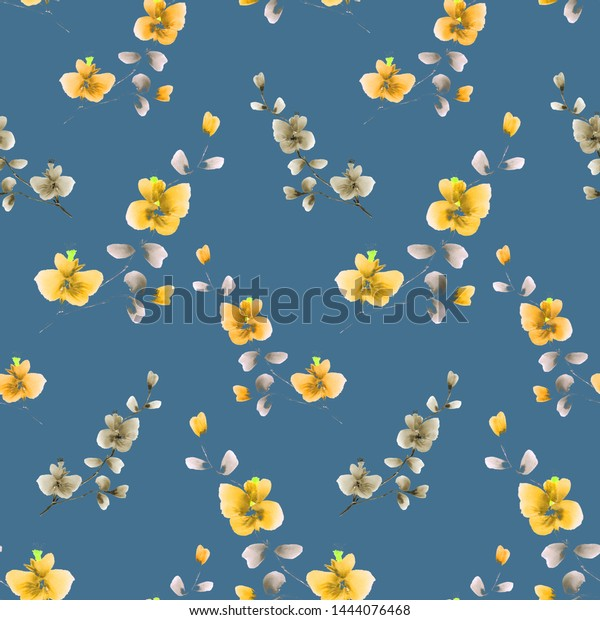 Seamless pattern small wild branch with yellow flowers on a  deep blue background. Watercolor -3