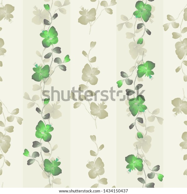 Seamless pattern small wild branchs with green flowers on a yellow background with vertical strips. Watercolor -2