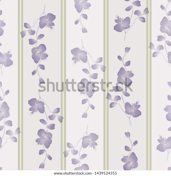 Seamless pattern small wild branchs with violet flowers on a gray background with green vertical strips. Watercolor -3