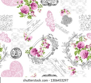 Seamless pattern with small wild flowers with bouquet of figure, lettering, lace, butterfly and pink roses on a white background