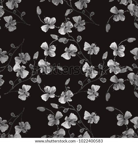 Seamless pattern small wild gray flowers on the black background. Floral background. Watercolor.