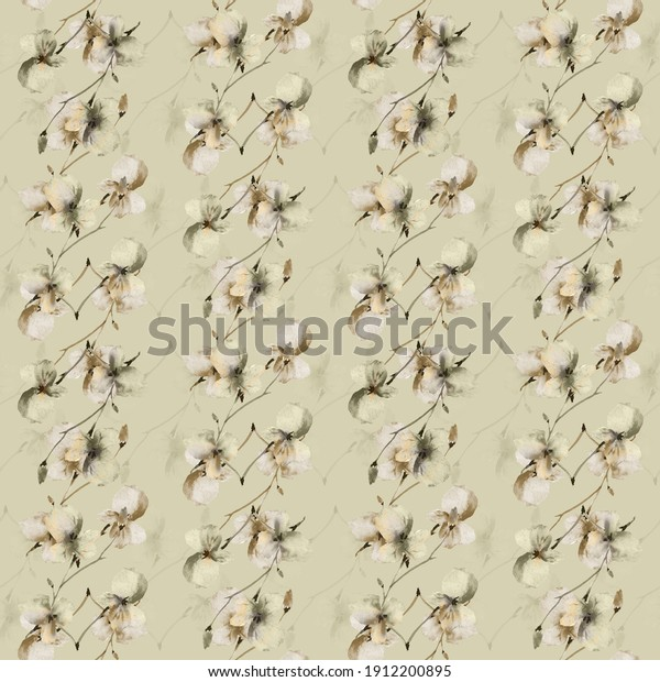 Seamless pattern small wild gray, beige branches of flowers on a deep green background. Watercolor