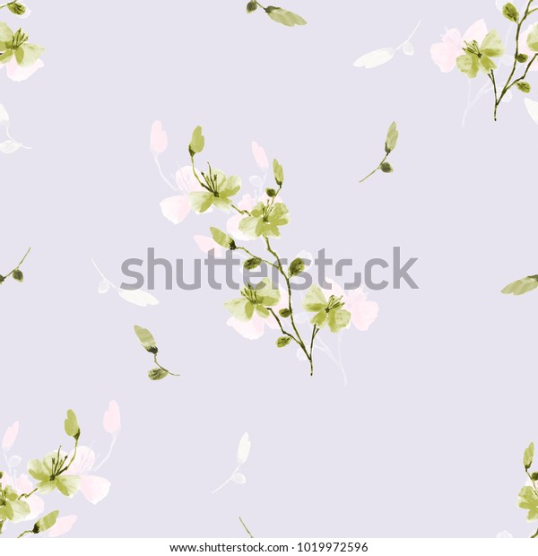 Seamless pattern small wild green and pink flowers on a light violet background. Watercolor