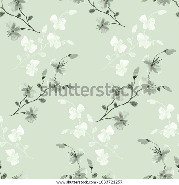 Seamless pattern small wild green and gray flowers on a green background. Watercolor.