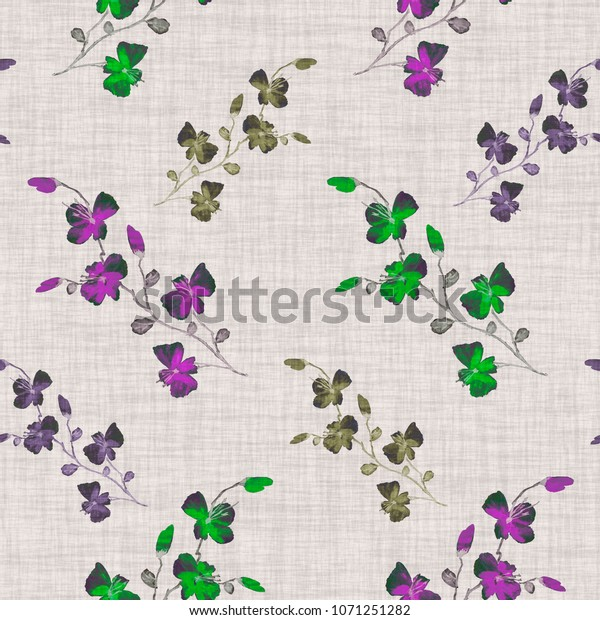 Seamless pattern small wild green,  violet flowers on a  beige linen background. Watercolor
