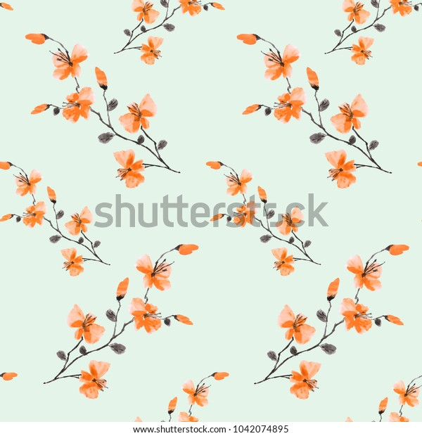 Seamless pattern small wild orange flowers on a light green background. Watercolor