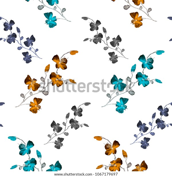 Seamless pattern small wild orange, blue, violet flowers on the white background. Watercolor