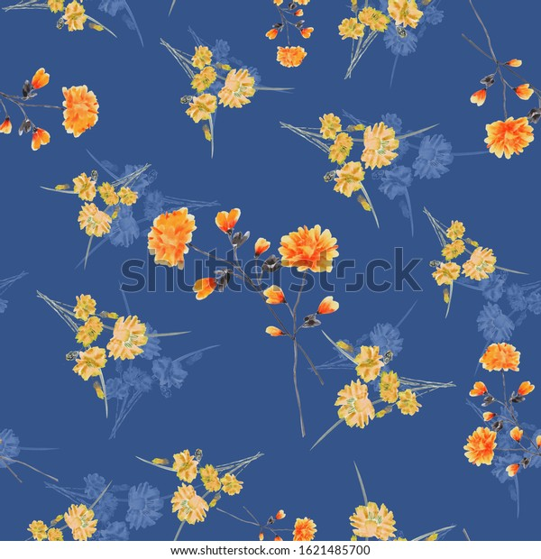 Seamless pattern of small, wild orange and yellow flowers on a dark blue background. Watercolor