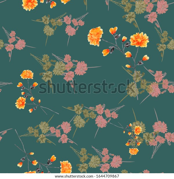 Seamless pattern of small, wild orange and pink flowers on a dark green background. Watercolor