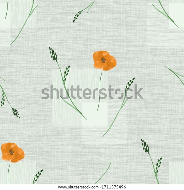 Seamless pattern of small wild orange flowers on a green background with squares. Watercolor