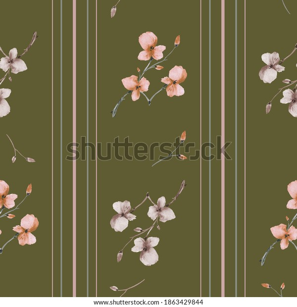 Seamless pattern small wild orange and beige flowers on a dark green background with vertical stripes. Watercolor