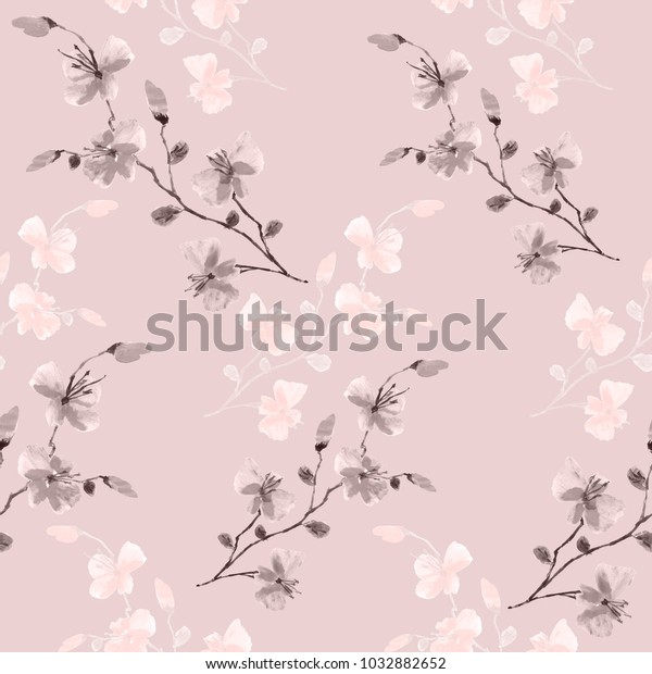 Seamless pattern small wild pink and beige flowers on a pink background. Watercolor.