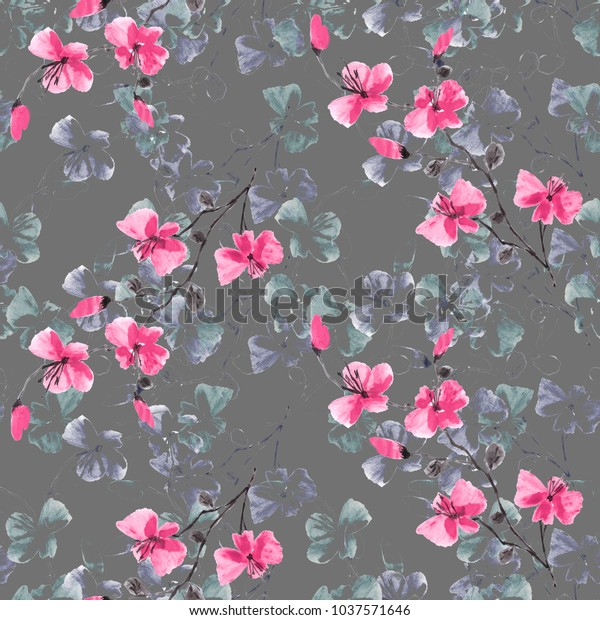Seamless pattern small wild pink and violet flowers on a deep gray background. Floral background. Watercolor.