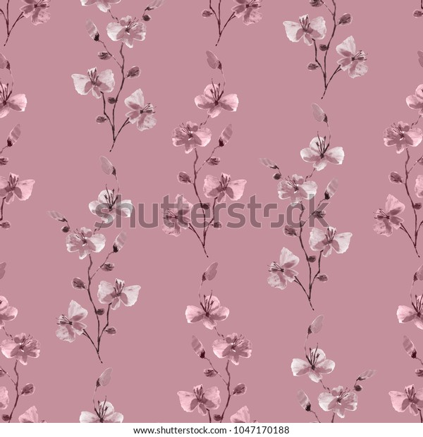 Seamless pattern small wild pink branches of flowers on a deep pink background. Watercolor