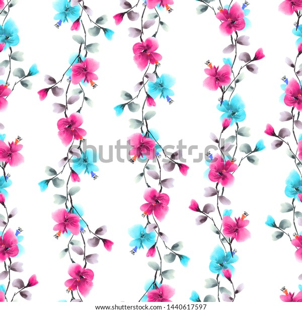 Seamless pattern small wild pink and  turquoise branches of flowers on a white background. Watercolor