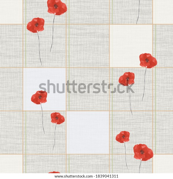 Seamless pattern small, wild poppies with red flowers with pink and blue squaers  on a gray  background. Watercolor