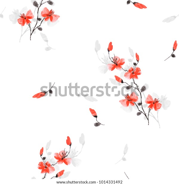 Seamless pattern small wild red and gray flowers on the white background. Watercolor.