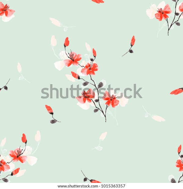 Seamless pattern small wild red flowers on a light green background. Watercolor.