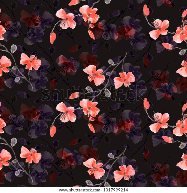 Seamless pattern small wild red flowers on the black background. Watercolor