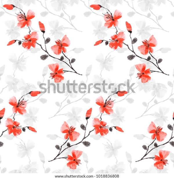 Seamless pattern small wild red and gray flowers on the white background.  Watercolor