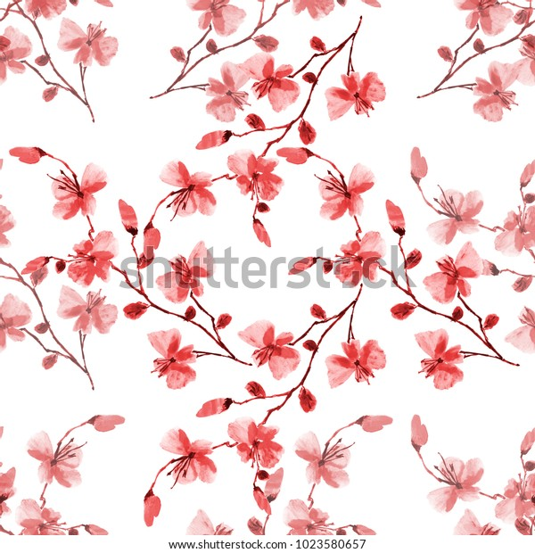 Seamless pattern small wild red flowers on a white background. Watercolor -2