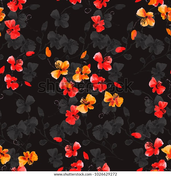 Seamless pattern small wild red and orange flowers on the black background. Watercolor.