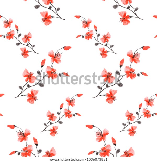 Seamless pattern small wild red flowers on the white background. Watercolor -A