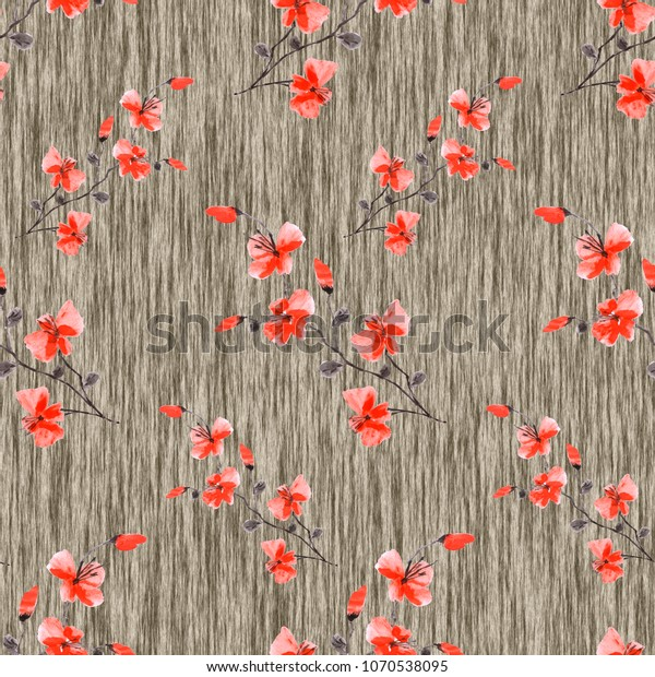 Seamless pattern small wild red flowers on a deep beige linen background. Watercolor