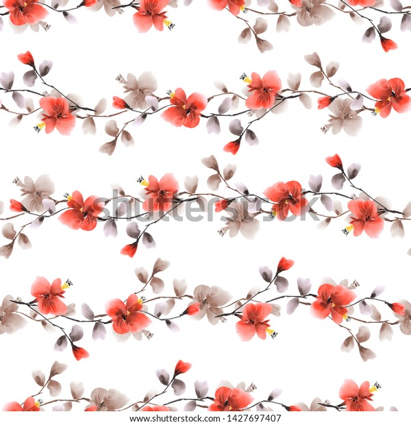 Seamless pattern small wild red and beige branches of flowers on a white background. Watercolor -4