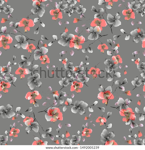 Seamless pattern of small wild red and gray flowers on a dark gray background. Watercolor -5