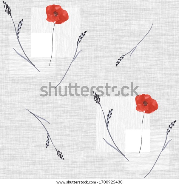 Seamless pattern of small, wild red poppy flowers on a gray background with squares. Watercolor