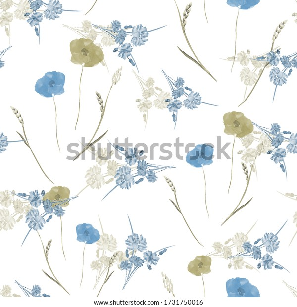Seamless pattern of small, wild, spring green and blue flowers on a white background. Watercolor.