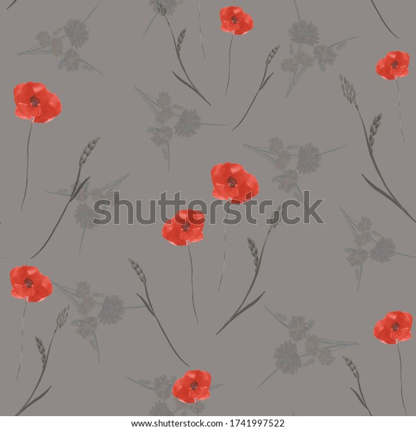 Seamless pattern of small, wild, spring red poppy flowers on a dark beige background. Watercolor.