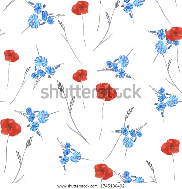 Seamless pattern of small wild spring red and blue flowers on a white background. Watercolor