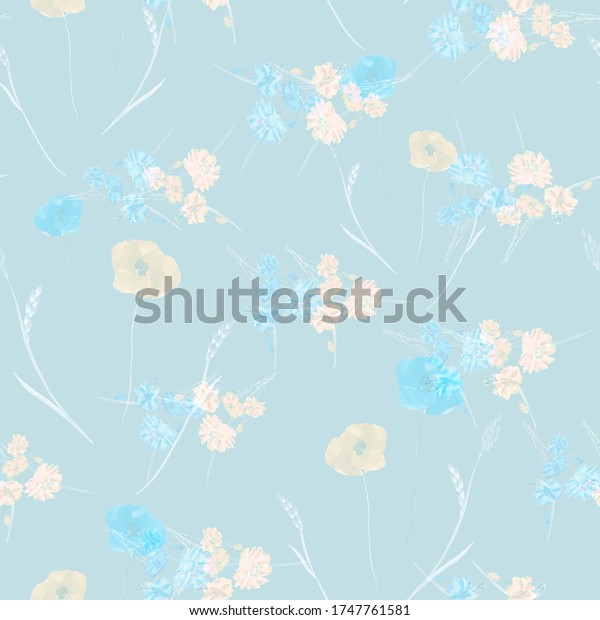 Seamless pattern of small wild spring yellow and blue flowers on a light blue background. Watercolor.